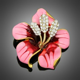 Broche hibiscus rose